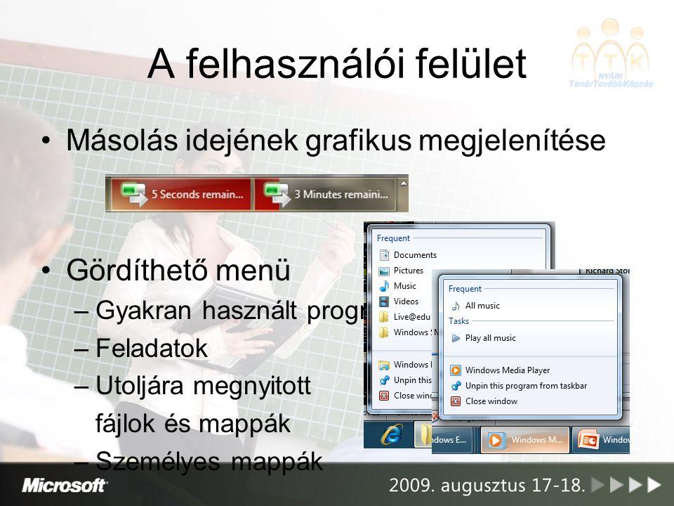 A felhasználói felület Másolás idejének grafikus megjelenítése Gördíthető menü –Gyakran használt programok –Feladatok –Utoljára megnyitott fájlok és m