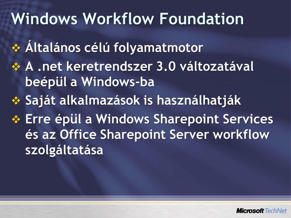 Windows Workflow Foundation  Általános célú folyamatmotor  A.net keretrendszer 3.0 változatával beépül a Windows-ba  Saját alkalmazások is használhatják  Erre épül a Windows Sharepoint Services és az Office Sharepoint Server workflow szolgáltatása