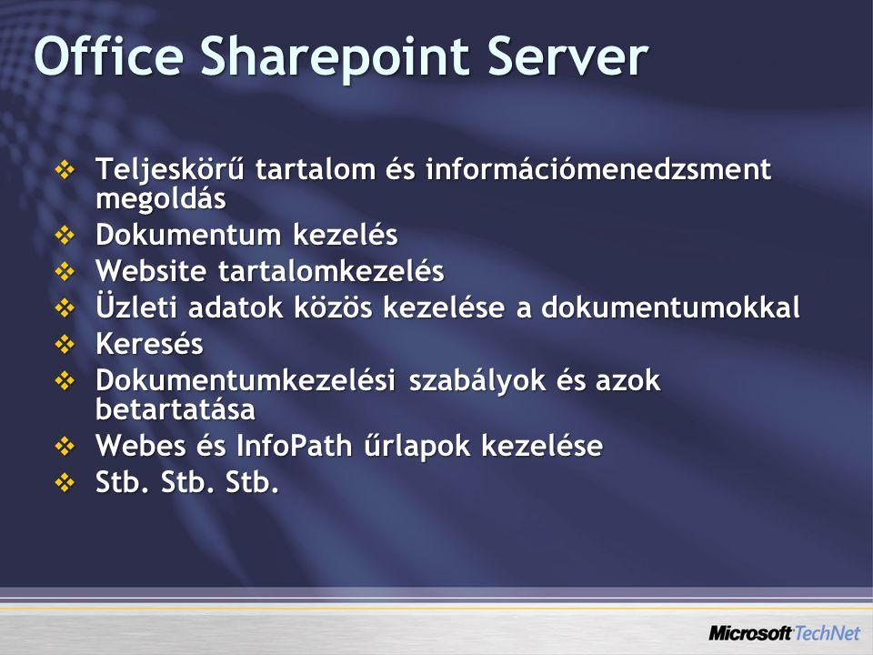 Office Sharepoint Server  Teljeskörű tartalom és információmenedzsment megoldás  Dokumentum kezelés  Website tartalomkezelés  Üzleti adatok közös kezelése a dokumentumokkal  Keresés  Dokumentumkezelési szabályok és azok betartatása  Webes és InfoPath űrlapok kezelése  Stb.