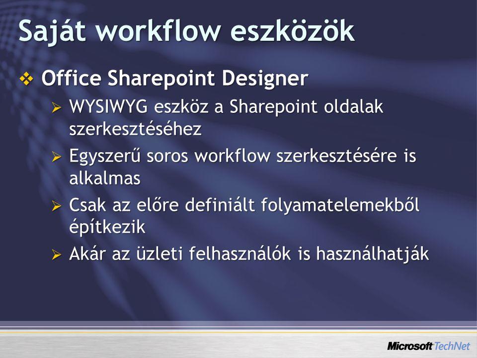 Saját workflow eszközök  Office Sharepoint Designer  WYSIWYG eszköz a Sharepoint oldalak szerkesztéséhez  Egyszerű soros workflow szerkesztésére is alkalmas  Csak az előre definiált folyamatelemekből építkezik  Akár az üzleti felhasználók is használhatják