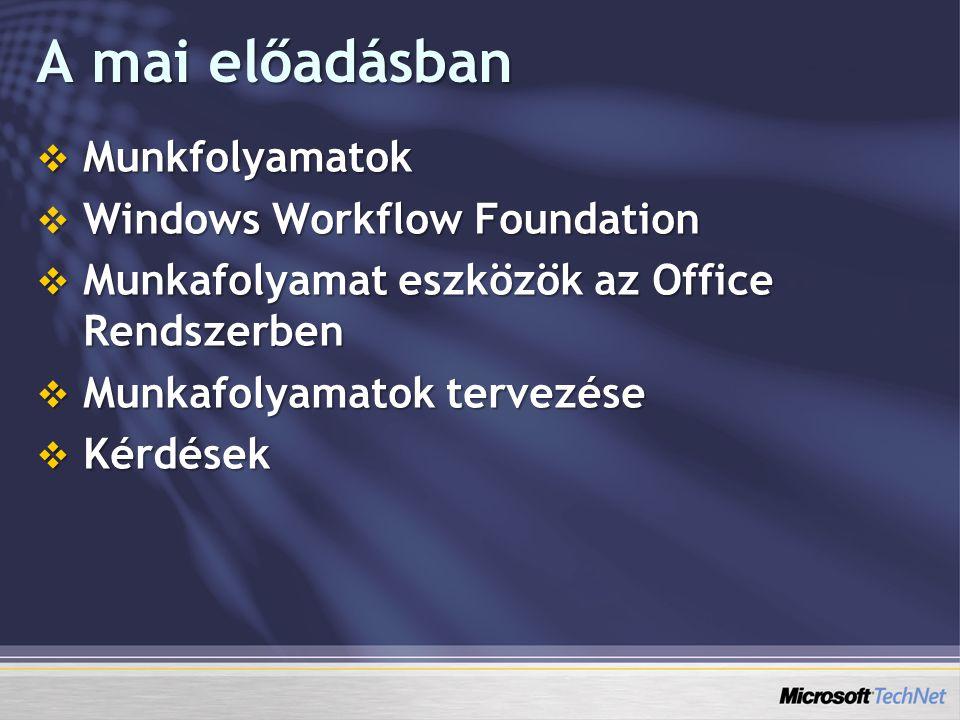 A mai előadásban  Munkfolyamatok  Windows Workflow Foundation  Munkafolyamat eszközök az Office Rendszerben  Munkafolyamatok tervezése  Kérdések
