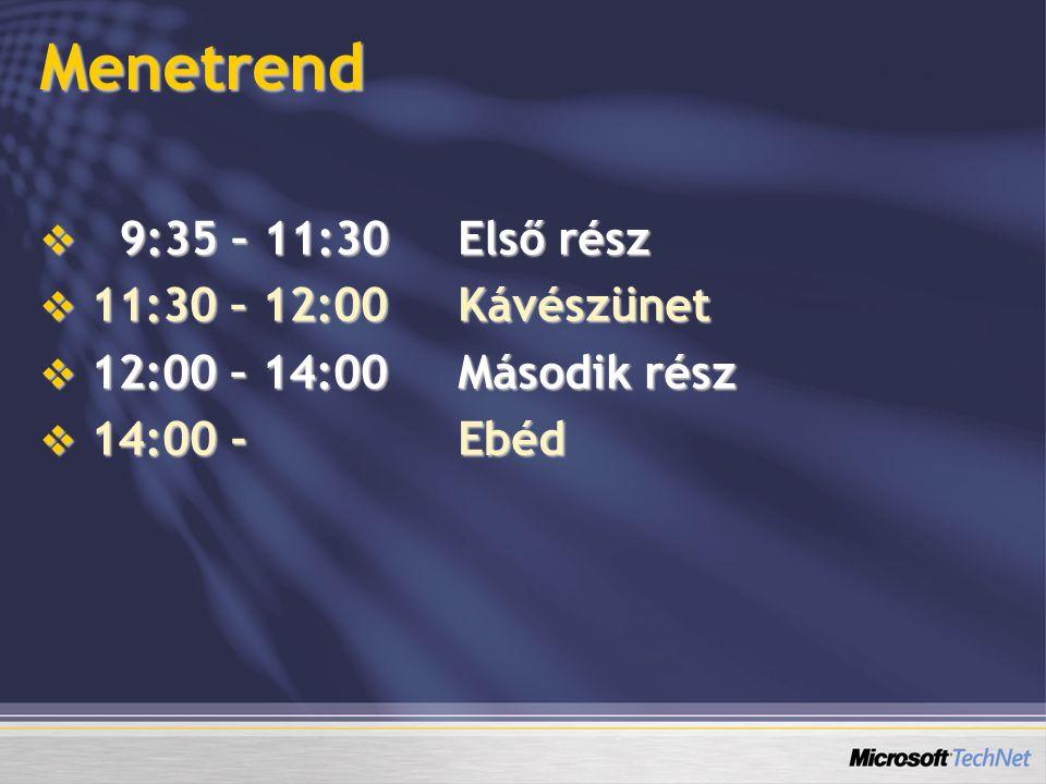 Menetrend  9:35 – 11:30Első rész  11:30 – 12:00Kávészünet  12:00 – 14:00Második rész  14:00 - Ebéd