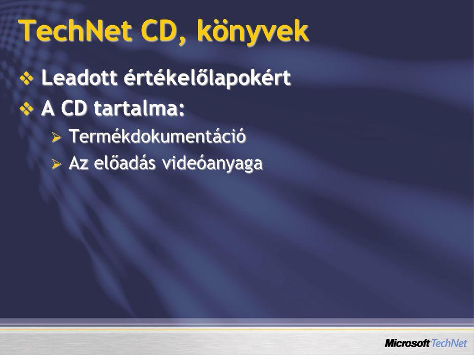 TechNet CD, könyvek  Leadott értékelőlapokért  A CD tartalma:  Termékdokumentáció  Az előadás videóanyaga