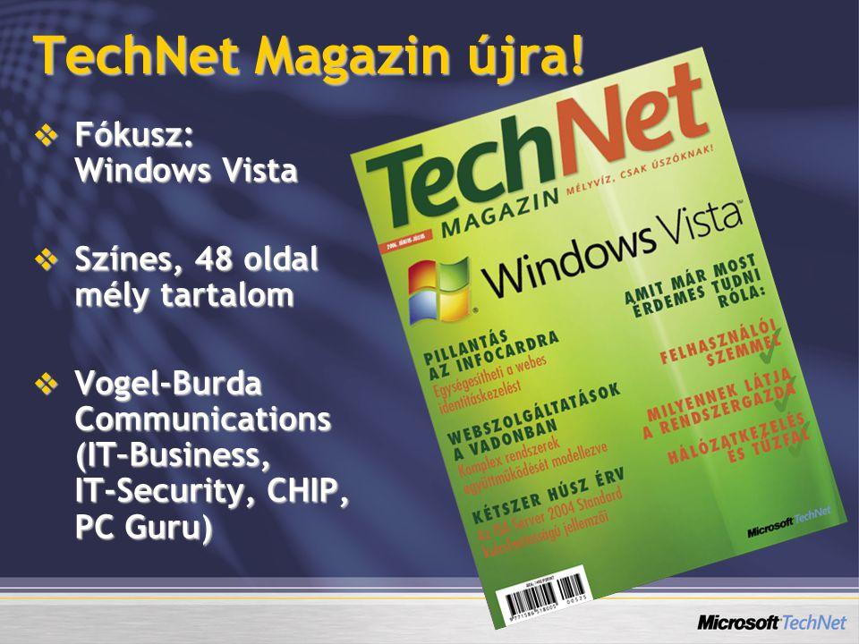 TechNet Magazin újra!  Fókusz: Windows Vista  Színes, 48 oldal mély tartalom  Vogel-Burda Communications (IT–Business, IT-Security, CHIP, PC Guru)