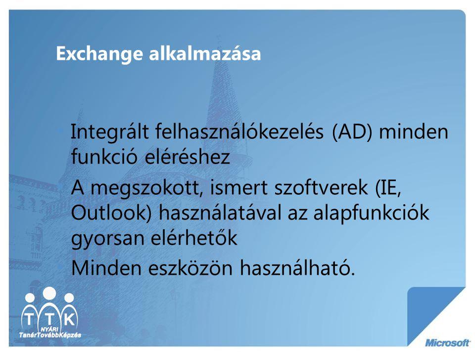 Exchange alkalmazása Integrált felhasználókezelés (AD) minden funkció eléréshez A megszokott, ismert szoftverek (IE, Outlook) használatával az alapfun