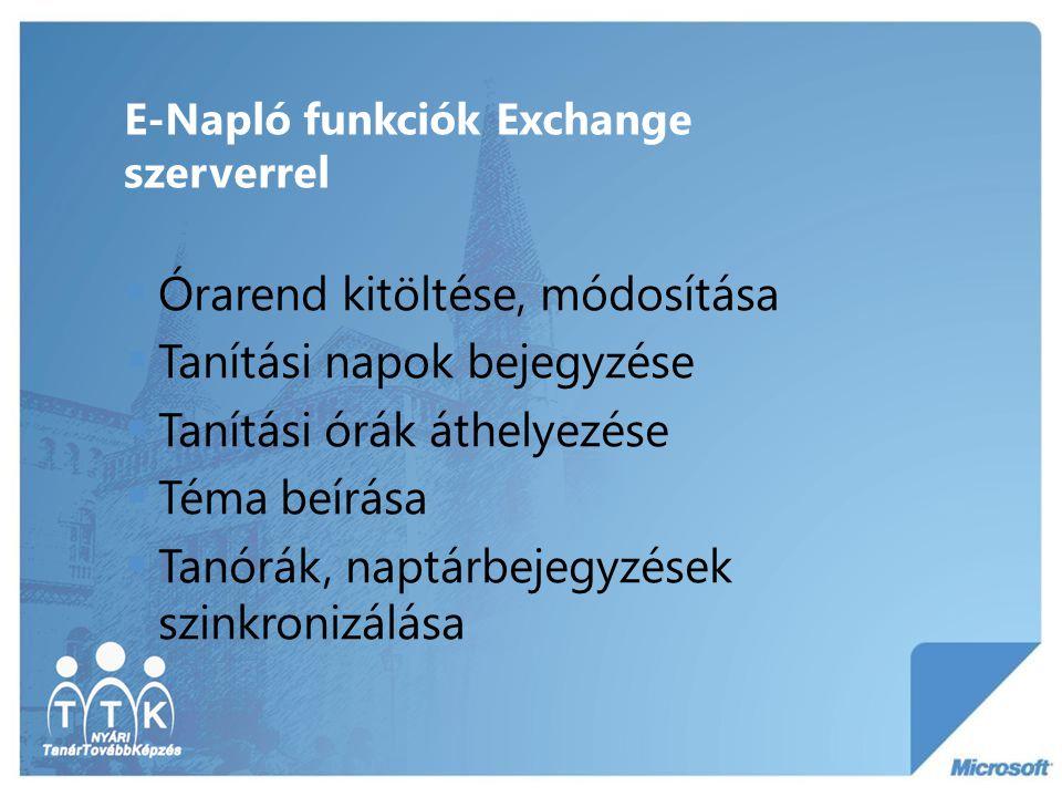 E-Napló funkciók Exchange szerverrel  Órarend kitöltése, módosítása  Tanítási napok bejegyzése  Tanítási órák áthelyezése  Téma beírása  Tanórák,