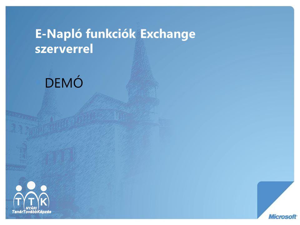 E-Napló funkciók Exchange szerverrel  DEMÓ