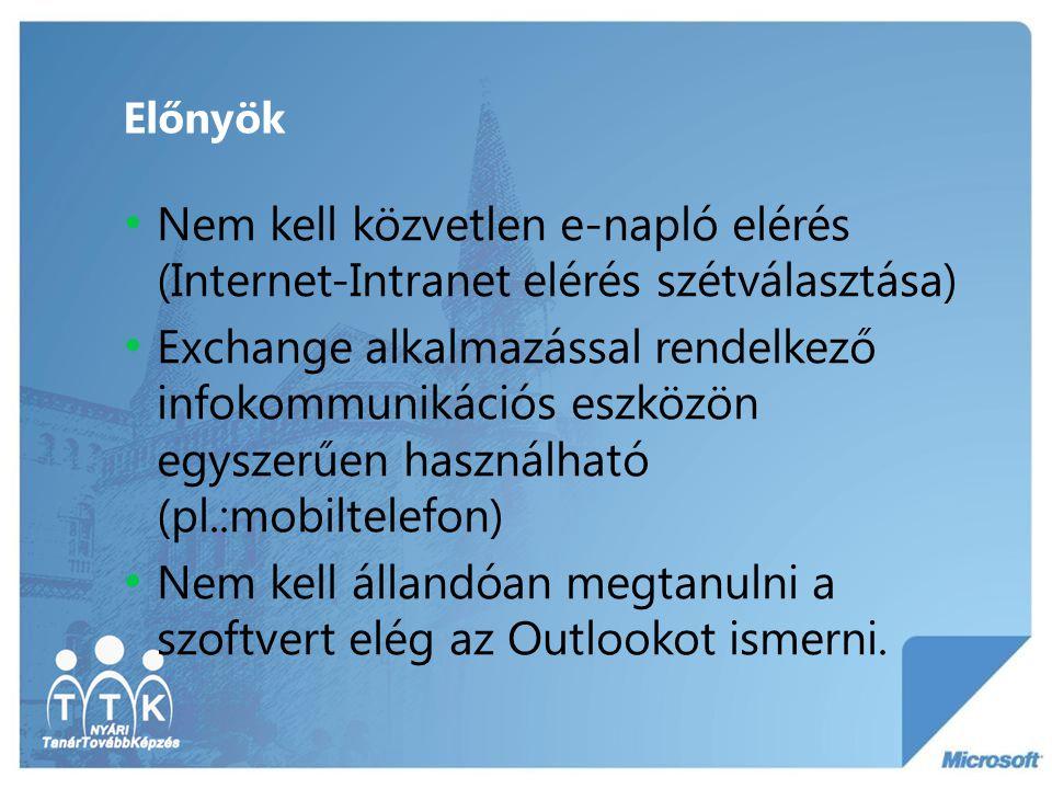 Előnyök Nem kell közvetlen e-napló elérés (Internet-Intranet elérés szétválasztása) Exchange alkalmazással rendelkező infokommunikációs eszközön egysz