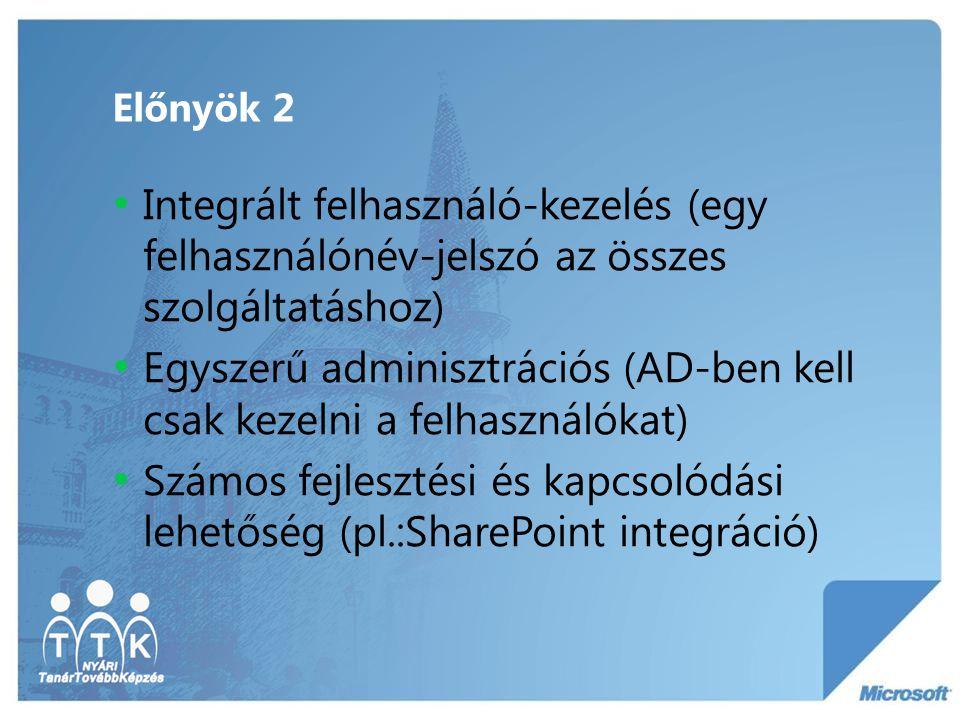 Előnyök 2 Integrált felhasználó-kezelés (egy felhasználónév-jelszó az összes szolgáltatáshoz) Egyszerű adminisztrációs (AD-ben kell csak kezelni a fel