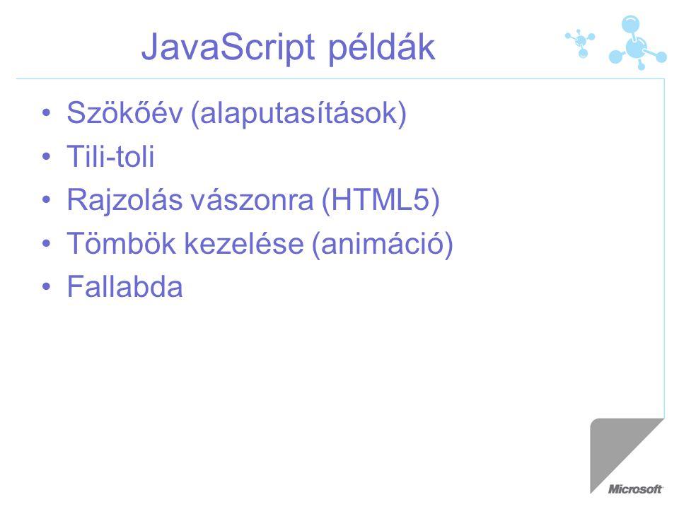 JavaScript példák Szökőév (alaputasítások) Tili-toli Rajzolás vászonra (HTML5) Tömbök kezelése (animáció) Fallabda