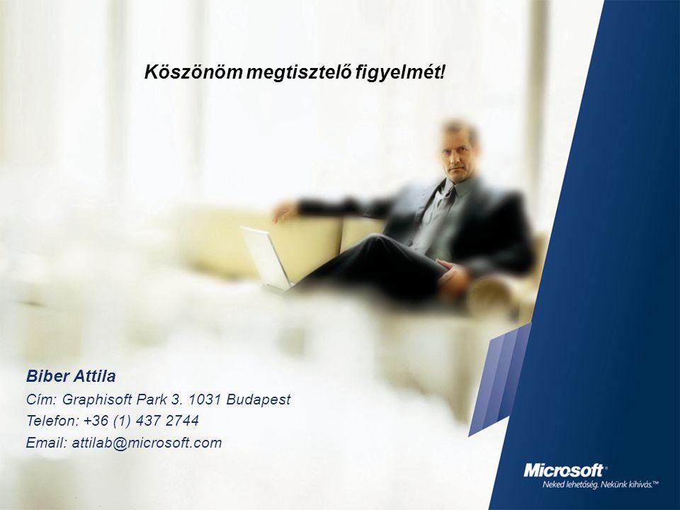 Biber Attila Cím: Graphisoft Park 3. 1031 Budapest Telefon: +36 (1) 437 2744 Email: attilab@microsoft.com Köszönöm megtisztelő figyelmét!