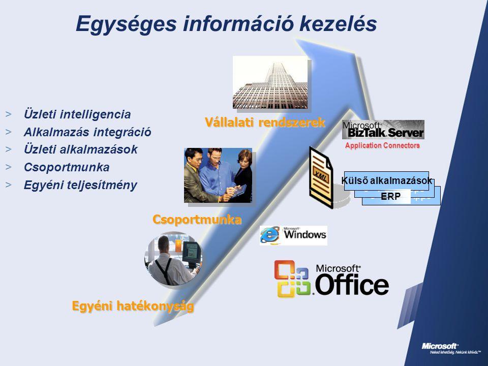  Üzleti intelligencia  Alkalmazás integráció  Üzleti alkalmazások  Csoportmunka  Egyéni teljesítmény Egységes információ kezelés XML Vállalati re