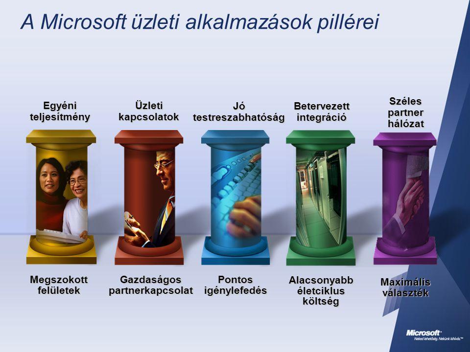 A Microsoft üzleti alkalmazások pillérei Megszokott felületek Egyéni teljesítmény Gazdaságos partnerkapcsolat Üzleti kapcsolatok Alacsonyabb életciklu