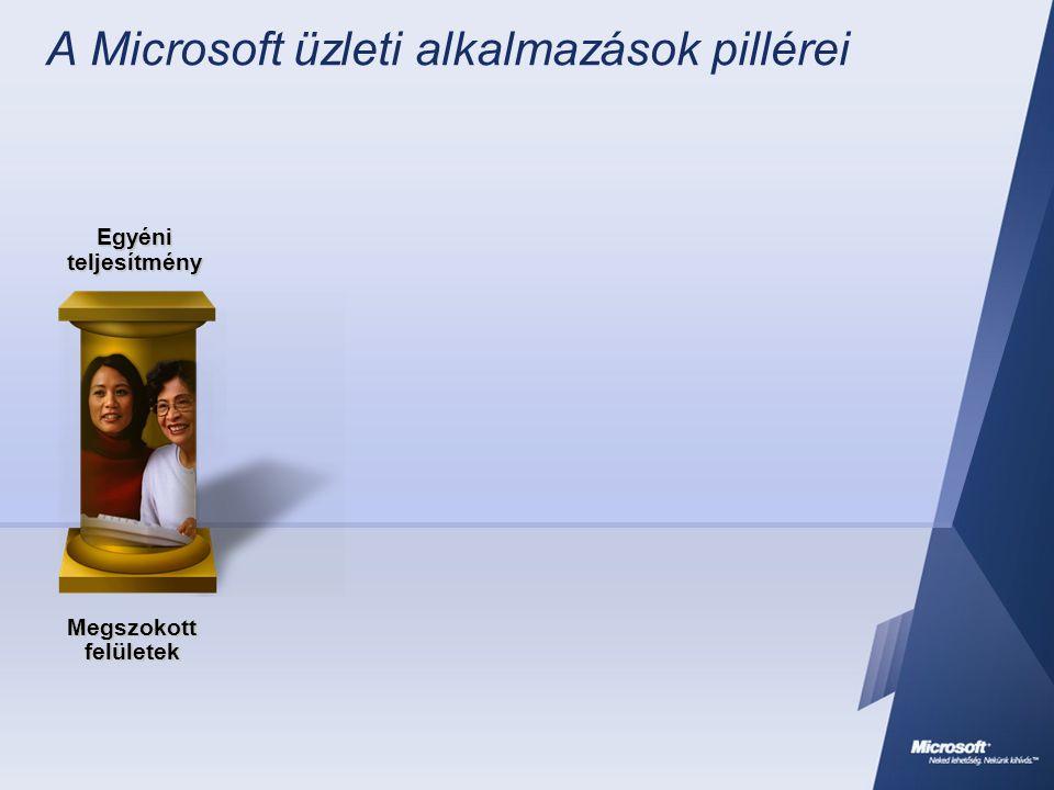 A Microsoft üzleti alkalmazások pillérei Megszokott felületek Egyéni teljesítmény