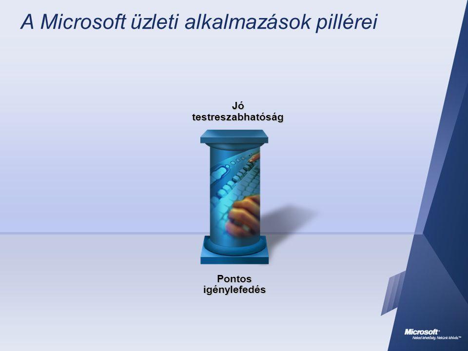 A Microsoft üzleti alkalmazások pillérei Alacsonyabb életciklus költség Betervezett integráció