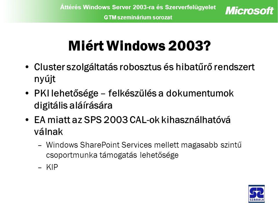 Áttérés Windows Server 2003-ra és Szerverfelügyelet GTM szeminárium sorozat Miért Windows 2003.