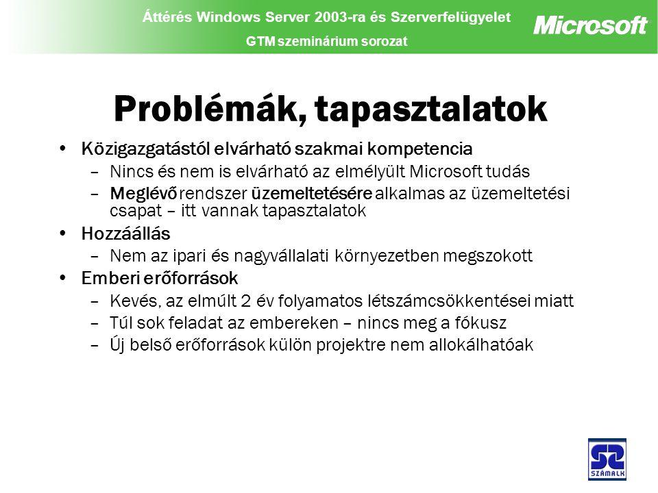 Áttérés Windows Server 2003-ra és Szerverfelügyelet GTM szeminárium sorozat Problémák, tapasztalatok Közigazgatástól elvárható szakmai kompetencia –Nincs és nem is elvárható az elmélyült Microsoft tudás –Meglévő rendszer üzemeltetésére alkalmas az üzemeltetési csapat – itt vannak tapasztalatok Hozzáállás –Nem az ipari és nagyvállalati környezetben megszokott Emberi erőforrások –Kevés, az elmúlt 2 év folyamatos létszámcsökkentései miatt –Túl sok feladat az embereken – nincs meg a fókusz –Új belső erőforrások külön projektre nem allokálhatóak