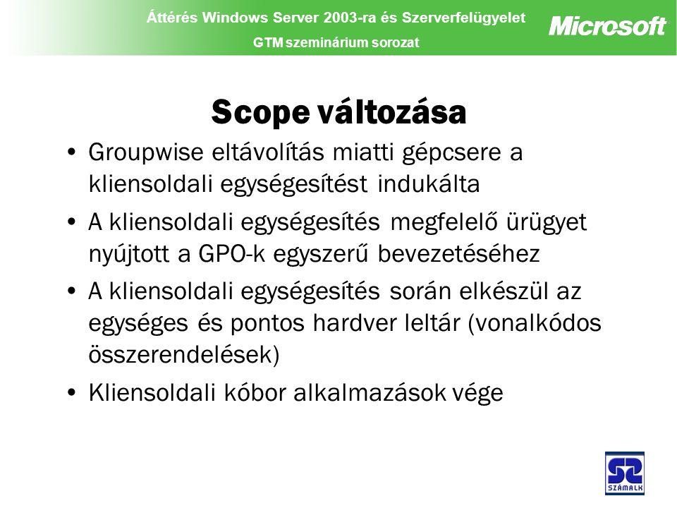 Áttérés Windows Server 2003-ra és Szerverfelügyelet GTM szeminárium sorozat Scope változása Groupwise eltávolítás miatti gépcsere a kliensoldali egységesítést indukálta A kliensoldali egységesítés megfelelő ürügyet nyújtott a GPO-k egyszerű bevezetéséhez A kliensoldali egységesítés során elkészül az egységes és pontos hardver leltár (vonalkódos összerendelések) Kliensoldali kóbor alkalmazások vége