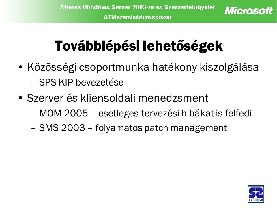 Áttérés Windows Server 2003-ra és Szerverfelügyelet GTM szeminárium sorozat Továbblépési lehetőségek Közösségi csoportmunka hatékony kiszolgálása –SPS KIP bevezetése Szerver és kliensoldali menedzsment –MOM 2005 – esetleges tervezési hibákat is felfedi –SMS 2003 – folyamatos patch management