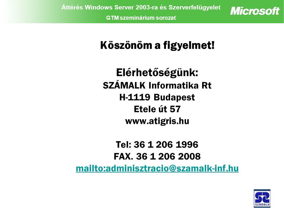 Áttérés Windows Server 2003-ra és Szerverfelügyelet GTM szeminárium sorozat Köszönöm a figyelmet.