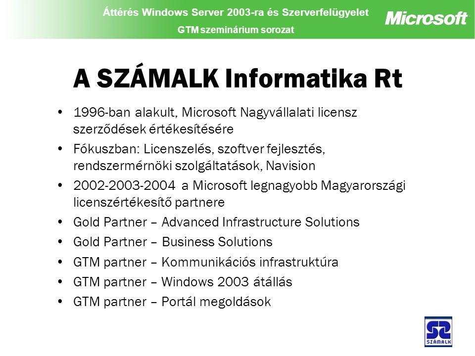 Áttérés Windows Server 2003-ra és Szerverfelügyelet GTM szeminárium sorozat A SZÁMALK Informatika Rt 1996-ban alakult, Microsoft Nagyvállalati licensz szerződések értékesítésére Fókuszban: Licenszelés, szoftver fejlesztés, rendszermérnöki szolgáltatások, Navision 2002-2003-2004 a Microsoft legnagyobb Magyarországi licenszértékesítő partnere Gold Partner – Advanced Infrastructure Solutions Gold Partner – Business Solutions GTM partner – Kommunikációs infrastruktúra GTM partner – Windows 2003 átállás GTM partner – Portál megoldások