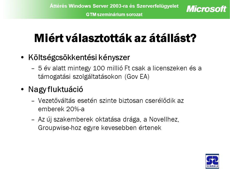 Áttérés Windows Server 2003-ra és Szerverfelügyelet GTM szeminárium sorozat Miért választották az átállást.