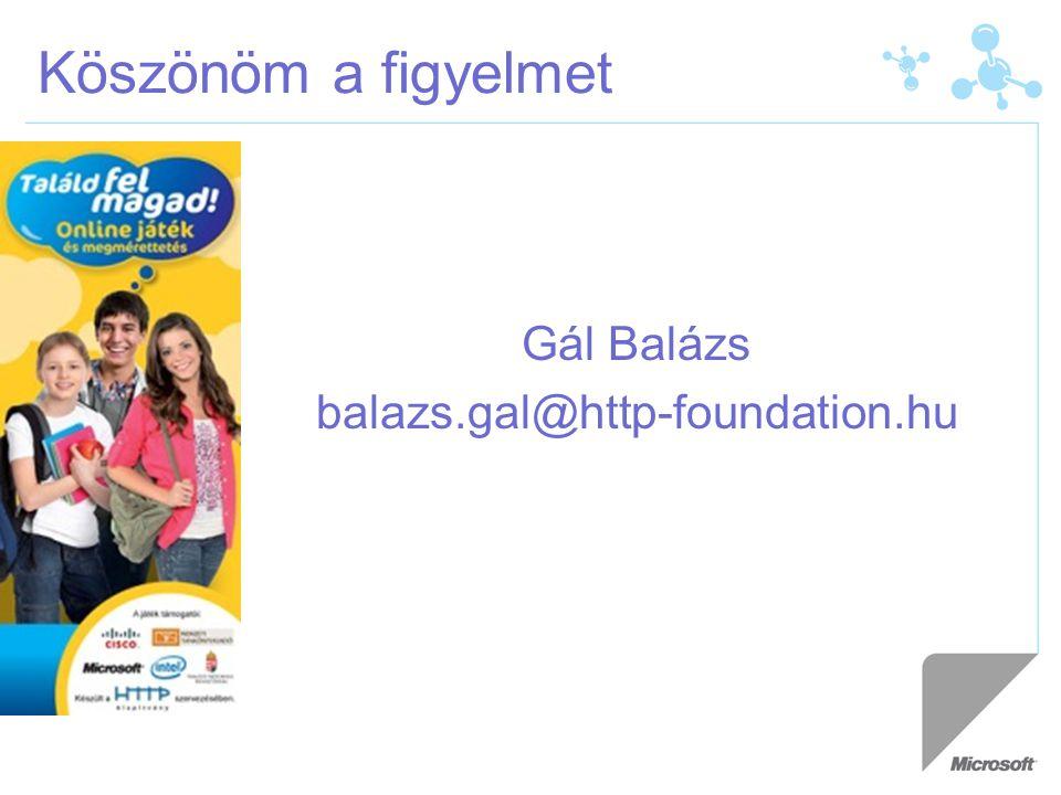 Köszönöm a figyelmet Gál Balázs balazs.gal@http-foundation.hu