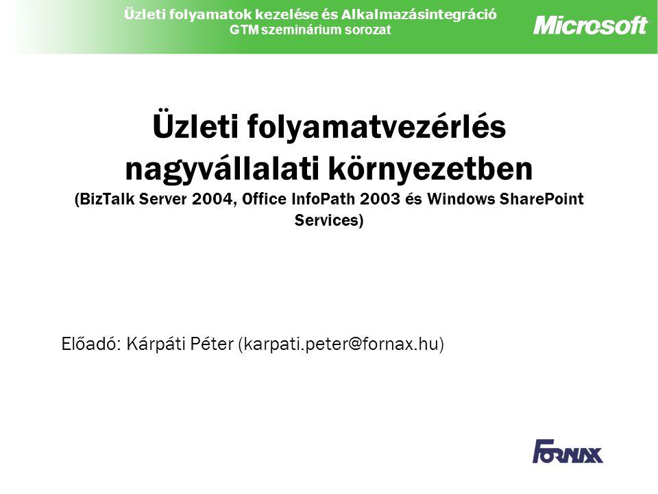 Üzleti folyamatok kezelése és Alkalmazásintegráció GTM szeminárium sorozat Üzleti folyamatvezérlés nagyvállalati környezetben (BizTalk Server 2004, Of