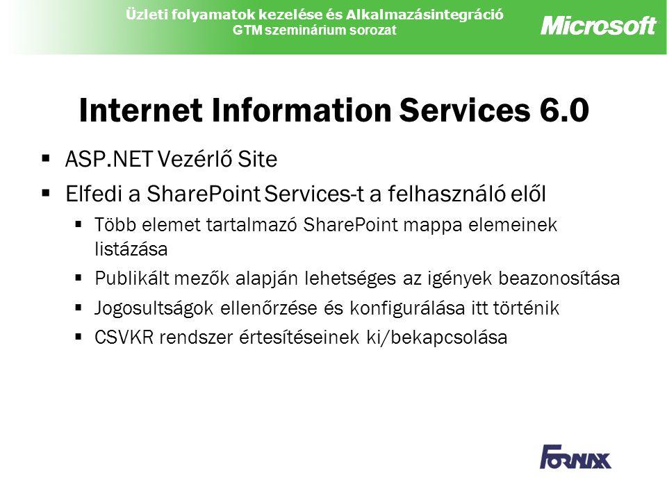 Üzleti folyamatok kezelése és Alkalmazásintegráció GTM szeminárium sorozat Internet Information Services 6.0  ASP.NET Vezérlő Site  Elfedi a SharePoint Services-t a felhasználó elől  Több elemet tartalmazó SharePoint mappa elemeinek listázása  Publikált mezők alapján lehetséges az igények beazonosítása  Jogosultságok ellenőrzése és konfigurálása itt történik  CSVKR rendszer értesítéseinek ki/bekapcsolása