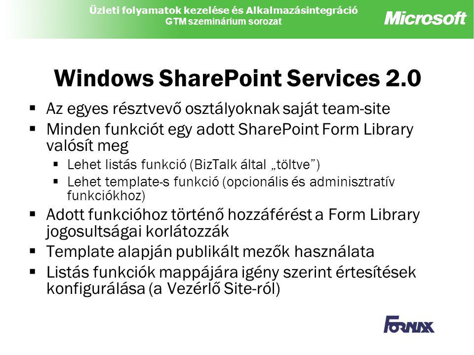 """Üzleti folyamatok kezelése és Alkalmazásintegráció GTM szeminárium sorozat Windows SharePoint Services 2.0  Az egyes résztvevő osztályoknak saját team-site  Minden funkciót egy adott SharePoint Form Library valósít meg  Lehet listás funkció (BizTalk által """"töltve )  Lehet template-s funkció (opcionális és adminisztratív funkciókhoz)  Adott funkcióhoz történő hozzáférést a Form Library jogosultságai korlátozzák  Template alapján publikált mezők használata  Listás funkciók mappájára igény szerint értesítések konfigurálása (a Vezérlő Site-ról)"""