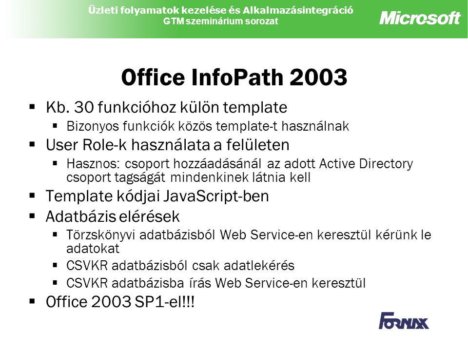 Üzleti folyamatok kezelése és Alkalmazásintegráció GTM szeminárium sorozat Office InfoPath 2003  Kb. 30 funkcióhoz külön template  Bizonyos funkciók