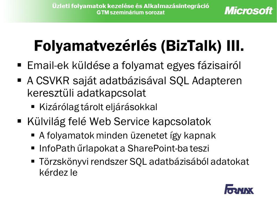 Üzleti folyamatok kezelése és Alkalmazásintegráció GTM szeminárium sorozat Folyamatvezérlés (BizTalk) III.  Email-ek küldése a folyamat egyes fázisai