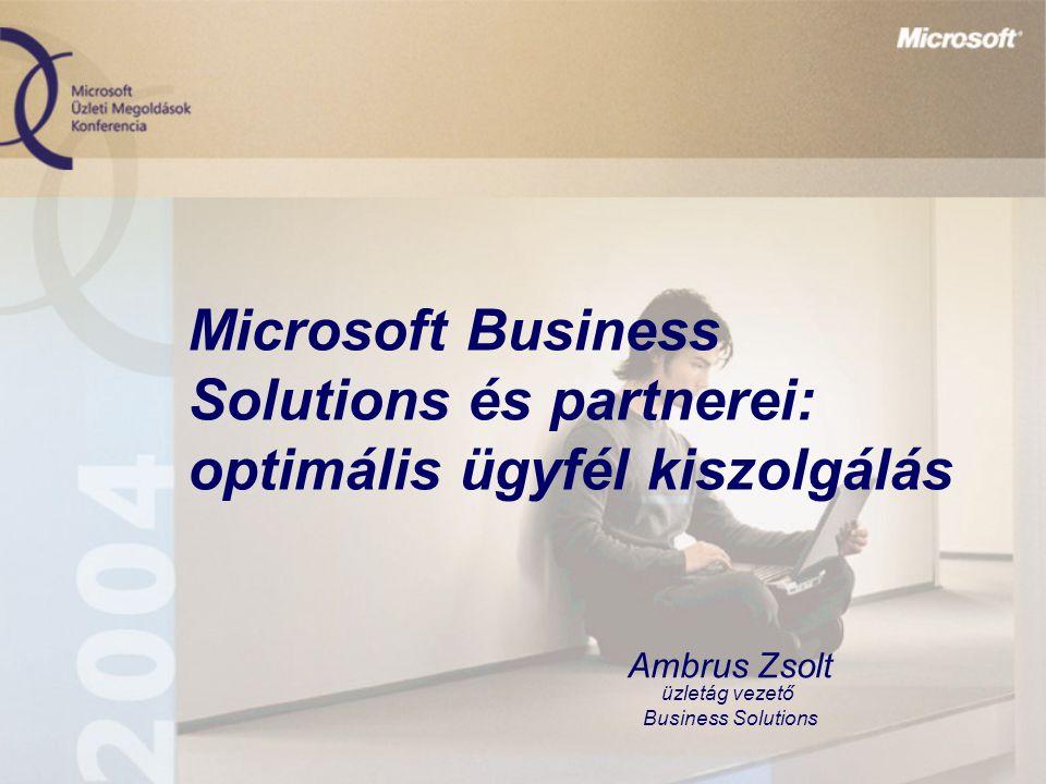 Microsoft Business Solutions és partnerei: optimális ügyfél kiszolgálás Ambrus Zsolt üzletág vezető Business Solutions