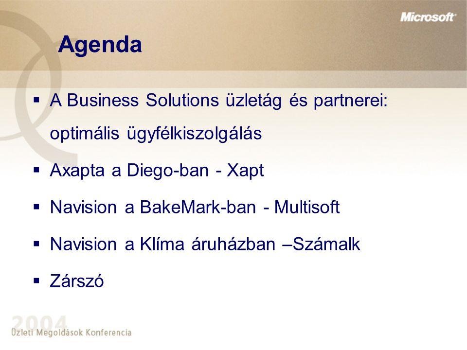 Agenda  A Business Solutions üzletág és partnerei: optimális ügyfélkiszolgálás  Axapta a Diego-ban - Xapt  Navision a BakeMark-ban - Multisoft  Navision a Klíma áruházban –Számalk  Zárszó