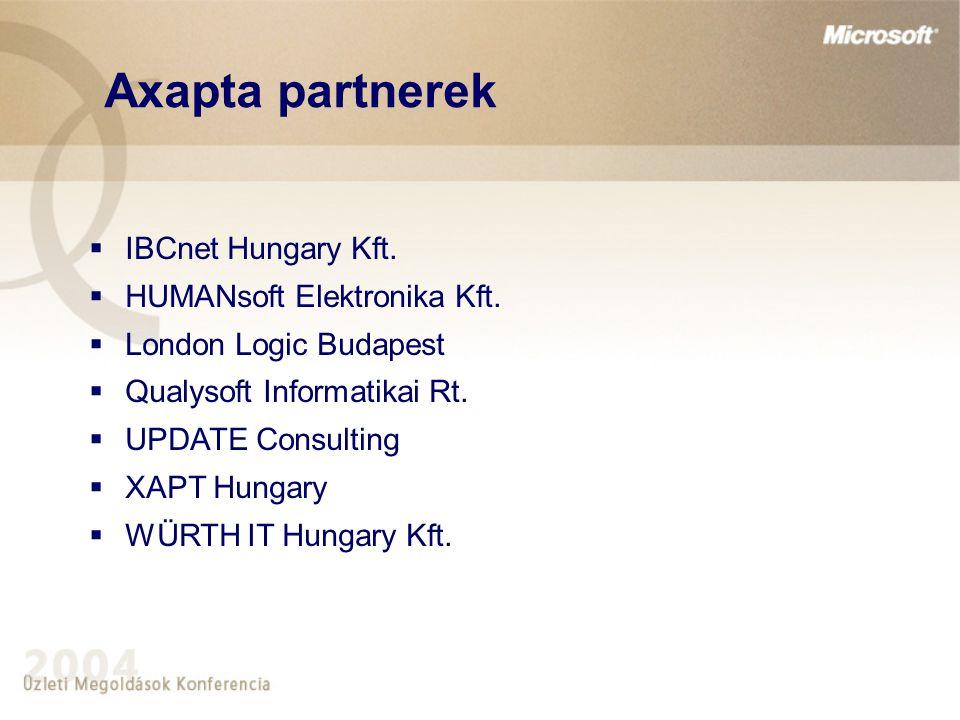 Axapta partnerek  IBCnet Hungary Kft.  HUMANsoft Elektronika Kft.