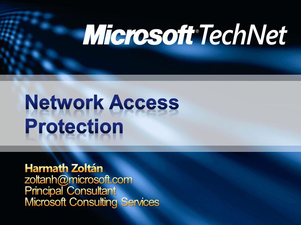Támogatott OS verziók Windows XP Windows Vista Windows Server 2003 – 2008 Enforcement clients DHCP - Más IP beállításokat tesz lehetővé a compliant és a non-compliant klienseknek RAS - Quarantine szolgáltatás IPSec Compliant kliens kap a HRA-tól egy Health Certificate-t Non-compliant nem kap, vagy elveszi az Agent EAP - 802.1x képes eszközöket utasítja arra, hogy egy külön VLAN-ra tegye a klienst Alapértelmezésben mindegyik enforcement tiltva van GPO-ból, netsh-val és UI-ból konfigurálható, de XP esetében nincs UI