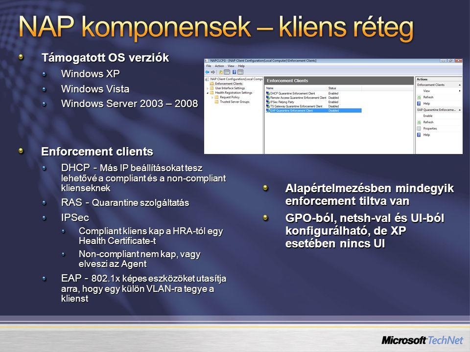 Támogatott OS verziók Windows XP Windows Vista Windows Server 2003 – 2008 Enforcement clients DHCP - Más IP beállításokat tesz lehetővé a compliant és