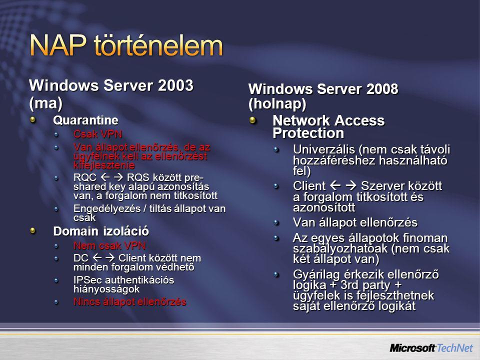 Windows Server 2003 (ma) Quarantine Csak VPN Van állapot ellenőrzés, de az ügyfélnek kell az ellenőrzést kifejlesztenie RQC   RQS között pre- shared
