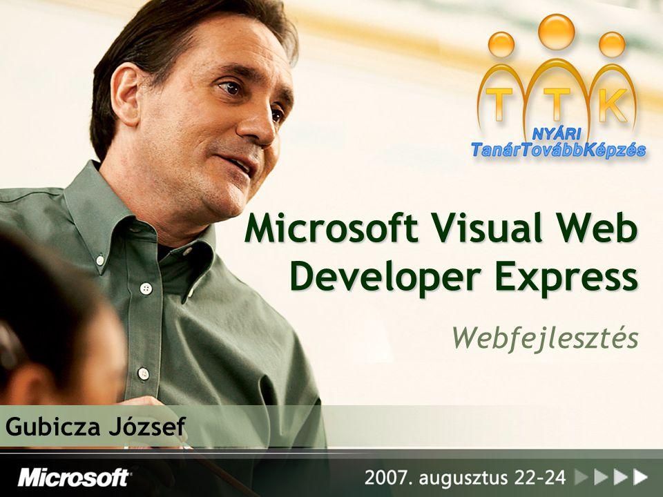 2 A programról Weboldal és web alkalmazások fejlesztésére Kezdő programozók/diákok részére A Visual Studio (8.0) kistestvére – Express: bemutató széria Könnyű telepítés, regisztráció, kezelhetőség Két fő nyelv: Visual Basic, C# tanulására (webes alkalmazásokban) Angol nyelvű, de nem igényel nagy angoltudást.