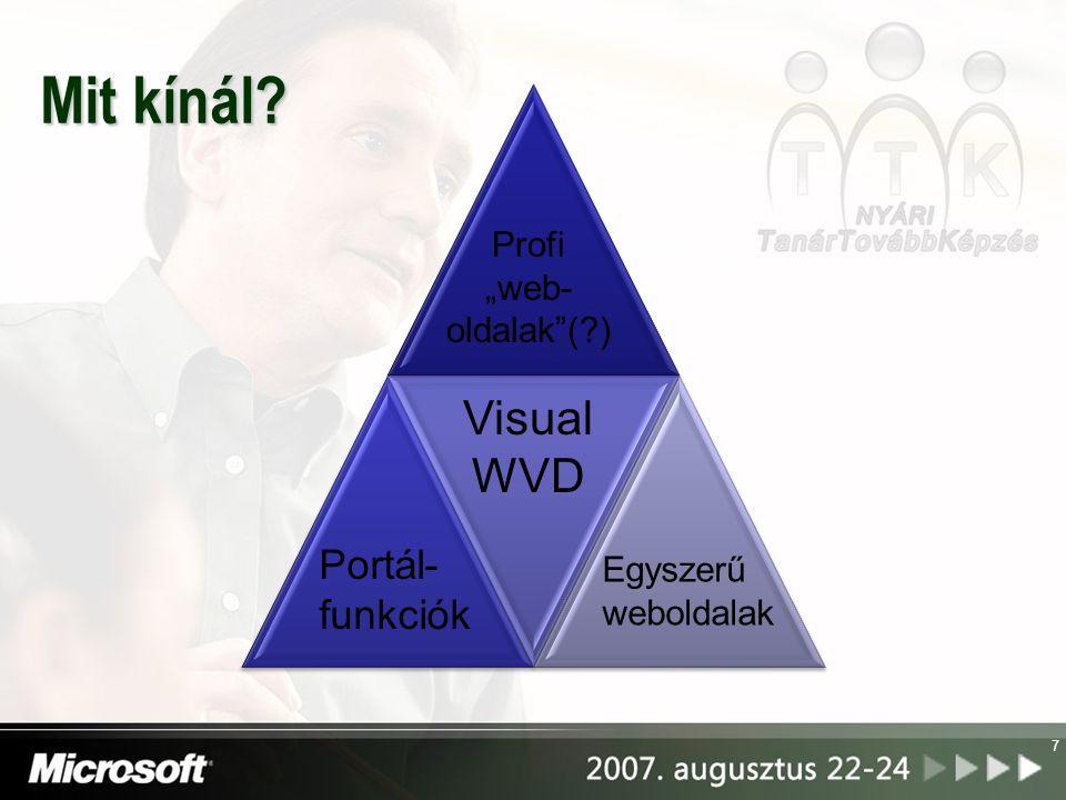 """Mit kínál? 7 Egyszerű weboldalak Portál- funkciók Profi """"web- oldalak (?) Visual WVD"""