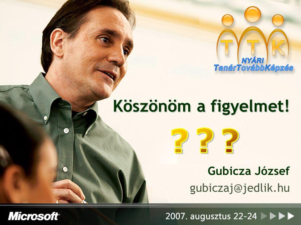 Köszönöm a figyelmet! Gubicza József gubiczaj@jedlik.hu