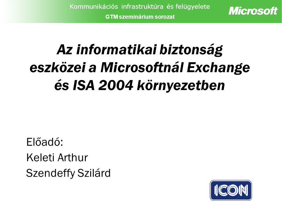 Kommunikációs infrastruktúra és felügyelete GTM szeminárium sorozat Az informatikai biztonság eszközei a Microsoftnál Exchange és ISA 2004 környezetben Előadó: Keleti Arthur Szendeffy Szilárd