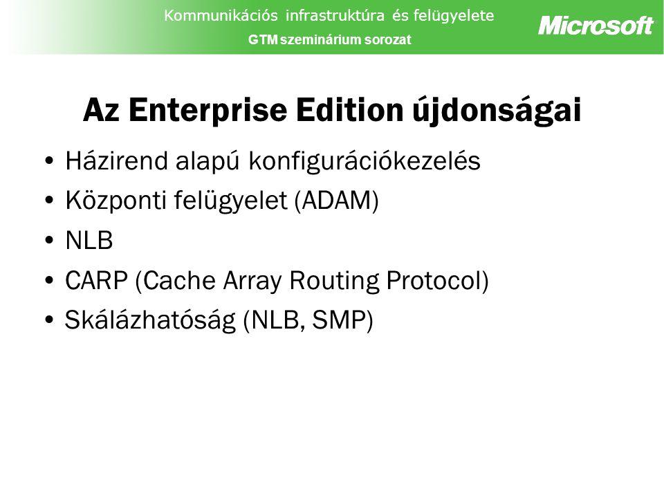 Kommunikációs infrastruktúra és felügyelete GTM szeminárium sorozat Az Enterprise Edition újdonságai Házirend alapú konfigurációkezelés Központi felügyelet (ADAM) NLB CARP (Cache Array Routing Protocol) Skálázhatóság (NLB, SMP)