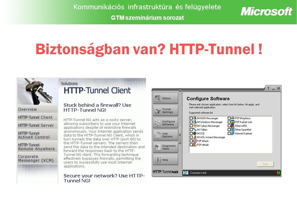 Kommunikációs infrastruktúra és felügyelete GTM szeminárium sorozat Biztonságban van HTTP-Tunnel !