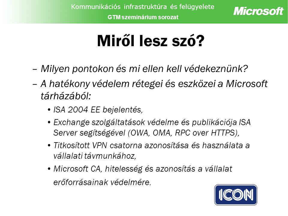 Kommunikációs infrastruktúra és felügyelete GTM szeminárium sorozat Miről lesz szó.