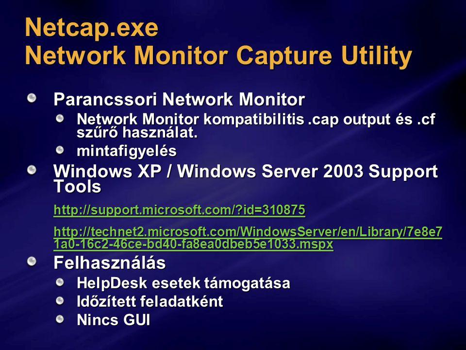 Netcap.exe Network Monitor Capture Utility Parancssori Network Monitor Network Monitor kompatibilitis.cap output és.cf szűrő használat.