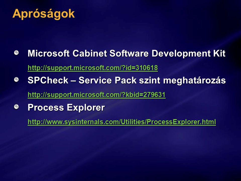 Apróságok Microsoft Cabinet Software Development Kit http://support.microsoft.com/?id=310618 SPCheck – Service Pack szint meghatározás http://support.microsoft.com/?kbid=279631 Process Explorer http://www.sysinternals.com/Utilities/ProcessExplorer.html