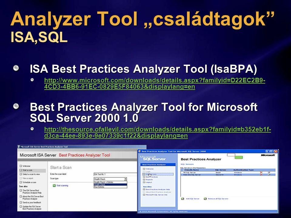 "Analyzer Tool ""családtagok ISA,SQL ISA Best Practices Analyzer Tool (IsaBPA) http://www.microsoft.com/downloads/details.aspx?familyid=D22EC2B9- 4CD3-4BB6-91EC-0829E5F84063&displaylang=en http://www.microsoft.com/downloads/details.aspx?familyid=D22EC2B9- 4CD3-4BB6-91EC-0829E5F84063&displaylang=en Best Practices Analyzer Tool for Microsoft SQL Server 2000 1.0 http://thesource.ofallevil.com/downloads/details.aspx?familyid=b352eb1f- d3ca-44ee-893e-9e07339c1f22&displaylang=en http://thesource.ofallevil.com/downloads/details.aspx?familyid=b352eb1f- d3ca-44ee-893e-9e07339c1f22&displaylang=en"