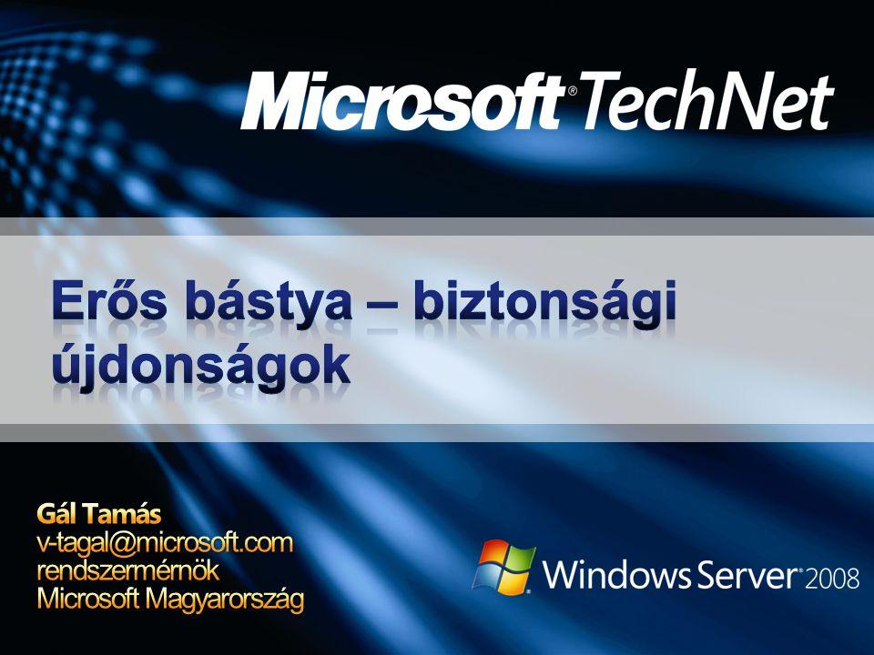 manage-bde.wsf ki-be kapcsolás, alapműveletek %systemdrive%\Windows\system32 Az ajánlás szerint kisebb környezetbe való BitLocker szkriptek / TPM WMI providerek Nagyobb méretekben Speciális vagy tömeges telepítésnél (unattend, ImageX, WDS, SMS 2003 OSD) Minta szkript - EnableBitLocker.vbs