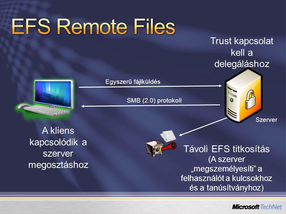 """A kliens kapcsolódik a szerver megosztáshoz Szerver Egyszerű fájlküldés SMB (2.0) protokoll Távoli EFS titkosítás (A szerver """"megszemélyesíti"""" a felha"""